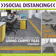 CREATE SOCIAL DISTANCING USING CARPET TILES In a commercial environment carpet tiles are an obvious choice for Social Distancing. Being 500mm x 500mm means that they can be easily spaced to indicate the minimum distancing recommended.  For example  Composure Edge Sunburst/Seclusion